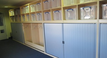 Cloakroom Base Unit with open storage above for 35 litre Really Useful Boxes