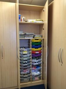 Corner Storage C showing trays