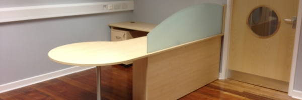 Head Teachers Desk with etched screen & meeting area
