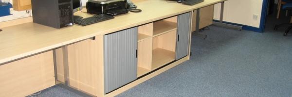 Office desks with Tambour storage unit under