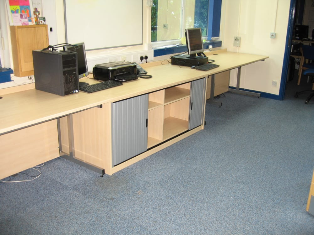 Office desks with Tambour storage unit under