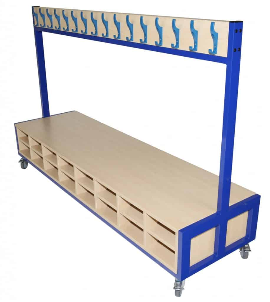 Mobile Cloakroom Unit with seat and storage - Double sided