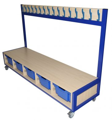 Mobile Cloakroom Unit with Gratnells Tray Storage