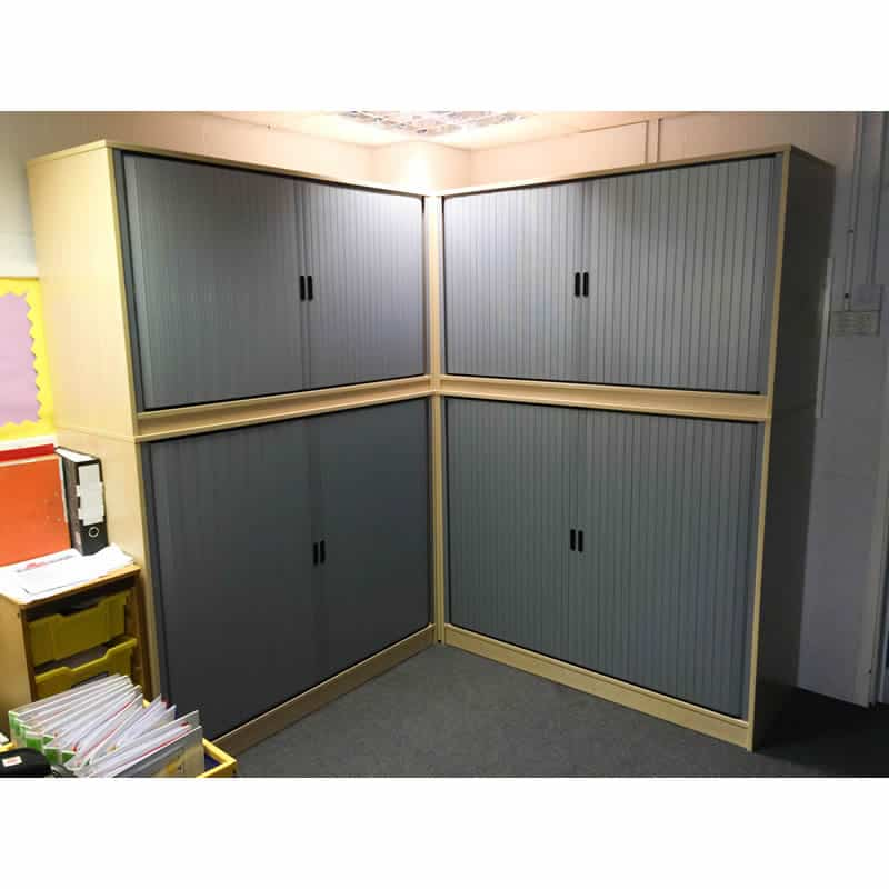 Cloakroom Base Unit with Tambour Door storage above for general storage