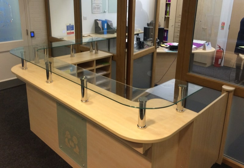 Counter with glass shelf & pigeon hole unit