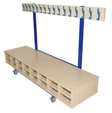 Mobile Cloakroom Unit with seat and storage
