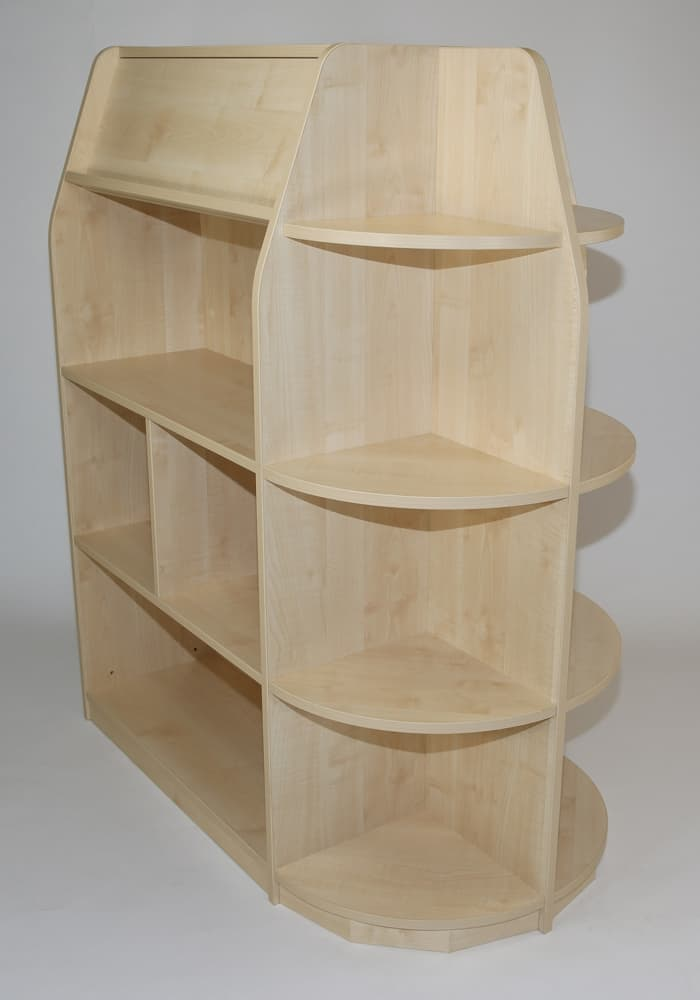 Double sided std height library unit with quad end display