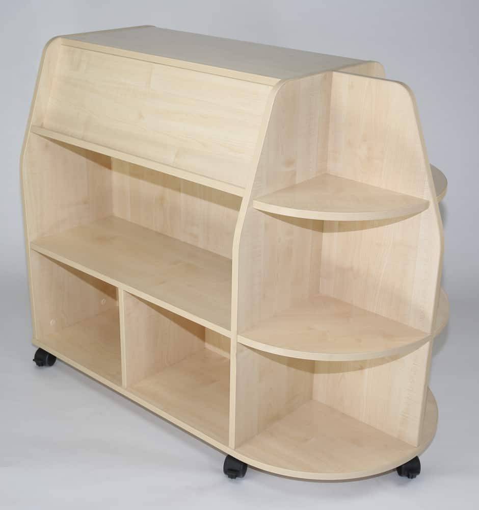 Double sided mobile unit with quad end display shelves to one end – reduced height