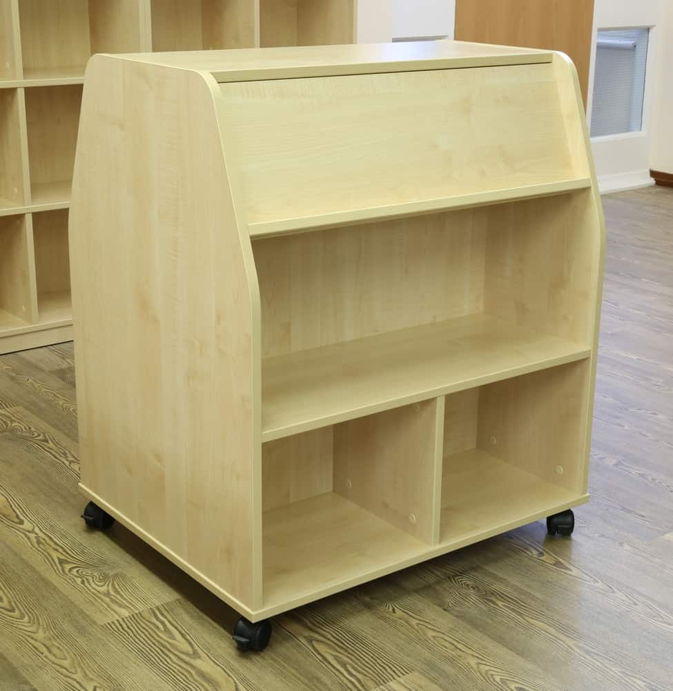 Mobile double sided reduced height library unit